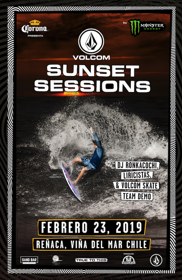 Surf nocturno, música y arte: Lo imperdible que trae Volcom Sunset Sessions by Monster Energy en Reñaca